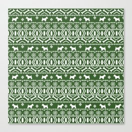 Westie fair isle west highland terrier christmas holiday gifts dog pattern green Canvas Print