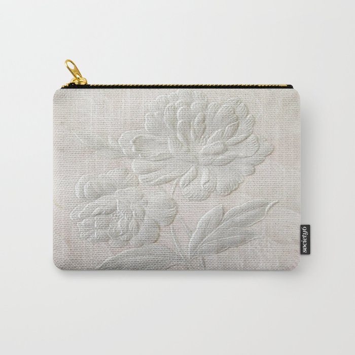 Embossed Painterly White Floral Abstract Carry-All Pouch