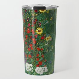 Gustav Klimt - Farm Garden With Flowers Travel Mug