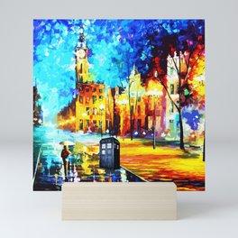 Tardis Art Starry Street Night Mini Art Print