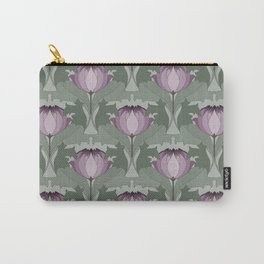 Lavender Flowers Art Nouveau Inspired Floral Pattern Carry-All Pouch