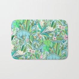 Improbable Botanical with Dinosaurs - soft pastels Bath Mat