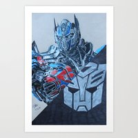 optimus prime Art Prints featuring Optimus Prime  by JMH Art