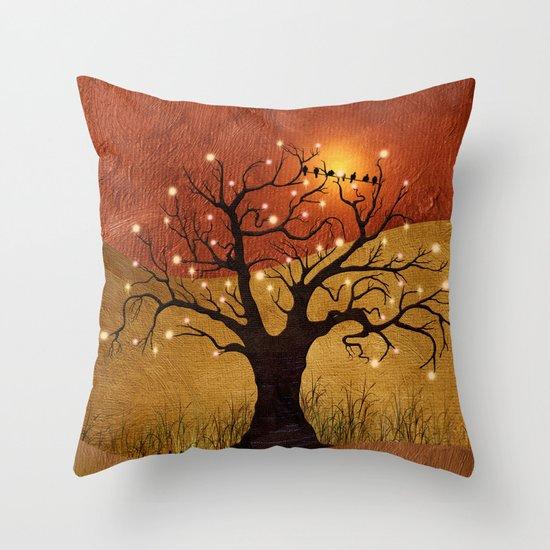 sunset and lights Throw Pillow