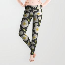 Daisies with dark grey background Leggings