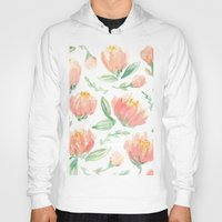 peonies Hoodies featuring peonies by Golden Girl Art