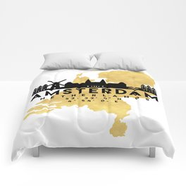 AMSTERDAM NETHERLANDS SILHOUETTE SKYLINE MAP ART Comforters