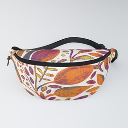 Watercolor branches and leaves - orange and purple Fanny Pack