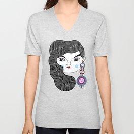 Girl With A Giant Earring Unisex V-Neck