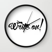 write Wall Clocks featuring Write On! by A Little Leafy