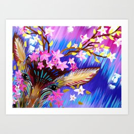 Deer Painting with Abstract Colours Art Print