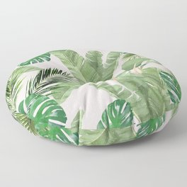 Watercolor Tropical Leaves Pattern on Pink Floor Pillow