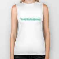 bible verse Biker Tanks featuring 1 Thessalonians 5:21 – Bible Verse Typography by rvc4