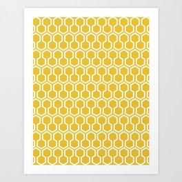 Honey Comb Pattern Yellow Art Print