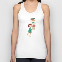 library Tank Tops featuring Library Girl 3 by Stephanie Fizer Coleman