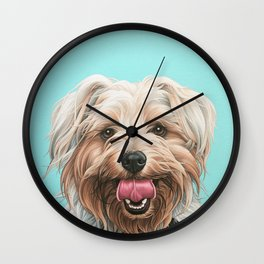 Adorable Yorkie Painting, Yorkshire Terrier Portrait, Smiling Yorkie Art Wall Clock