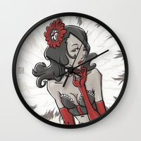 "burlesque Wall Clocks featuring BURLESQUE by ""dfrnt"""
