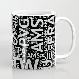 World Airport Codes (All Black) Coffee Mug