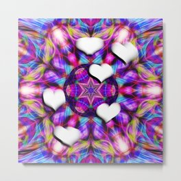 Floating hearts on abstract vibrant kaleidoscope Metal Print