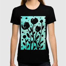 Whimsical watercolor flowers – turquoise T-shirt