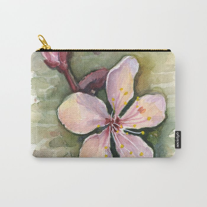 Cherry Blossom Watercolor Painting | Spring Flowers Carry-All Pouch