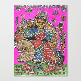 Madhubani - Pink Durga Canvas Print