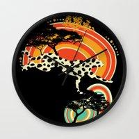 cheetah Wall Clocks featuring Cheetah by Dimitra Tzanos
