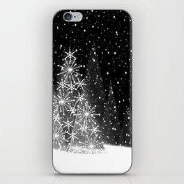 Elegant Black and White Christmas Trees Holiday Pattern iPhone Skin