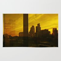 minneapolis Area & Throw Rugs featuring golden minneapolis by sara montour
