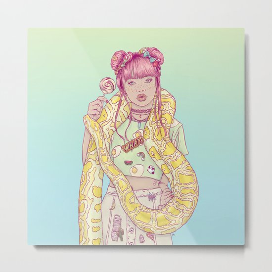 Candid Candy Lady Metal Print