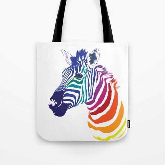 Rainbow Zebra Colorful Animals Whimsical Art Tote Bag