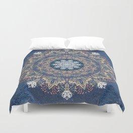Blue's Golden Mandala Duvet Cover
