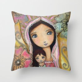 Young Madonna with Child and Flowers by Flor Larios Throw Pillow