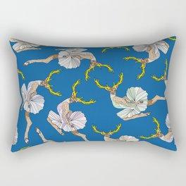 Dancing Reindeers - Diesel Blue Rectangular Pillow