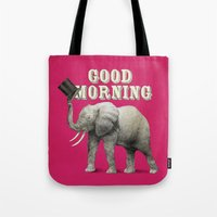 good morning Tote Bags featuring Good Morning by Eric Fan