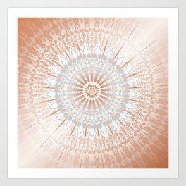 Rose Gold Gray Mild Mandala Art Print