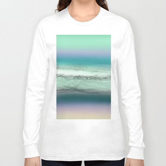 Twilight Sea in Shades of Green and Lavender Long Sleeve T-shirt