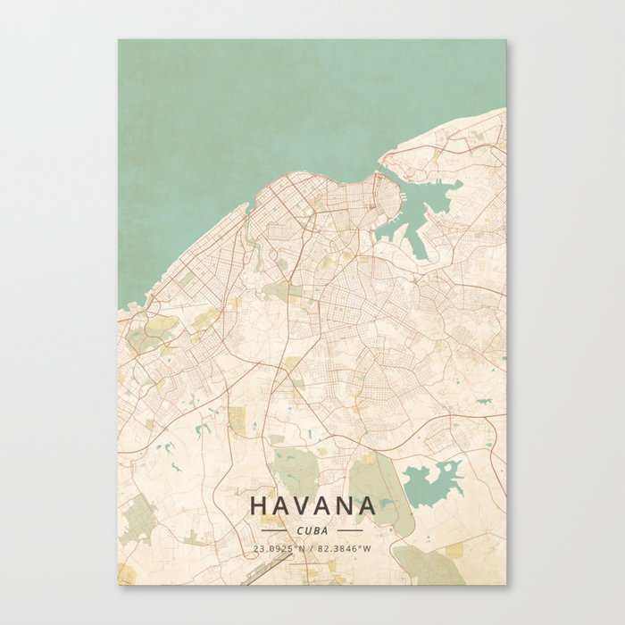 picture relating to Printable Map of Havana known as Havana, Cuba - Basic Map Canvas Print via designermapart