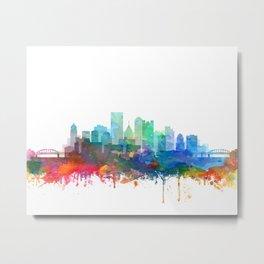 Pittsburgh City Skyline Watercolor by zouzounioart Metal Print