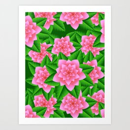 Ice Pink Camellias and Green Leaves Art Print