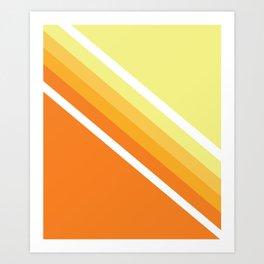 Retro Orange n' Yellow Lines Art Print