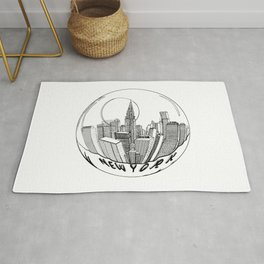 THE CITY of New York in a Suspended Bowl . Artwork Rug