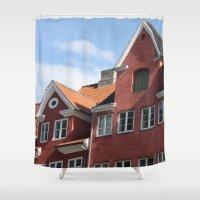 copenhagen Shower Curtains featuring Copenhagen Sun by Abby Hoffman