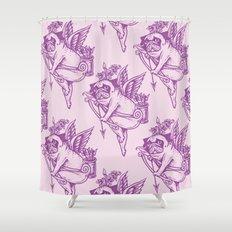 Stupid Pug Cupid Shower Curtain