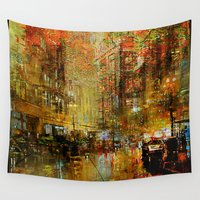 detroit Wall Tapestries featuring An evening in Detroit by Ganech joe