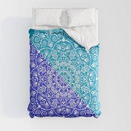 Moroccan Mandala – Blue Diagonal Palette Comforters