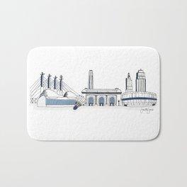 Kansas City Skyline Illustration in Sporting KC Colors Bath Mat