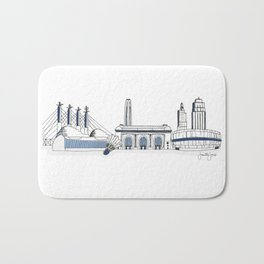 Kansas City Skyline Illustration in Sporting KC Colors Bath Mat