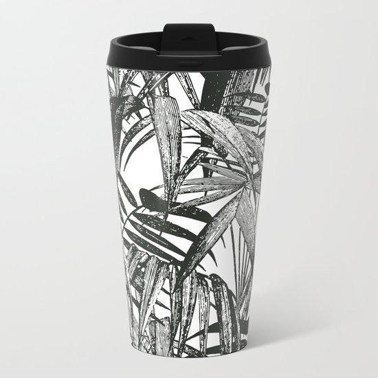 Black and White Vintage Palm Leaf Pattern Metal Travel Mug