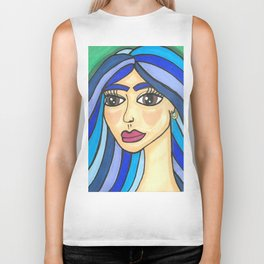 Girl with Blue hair Biker Tank
